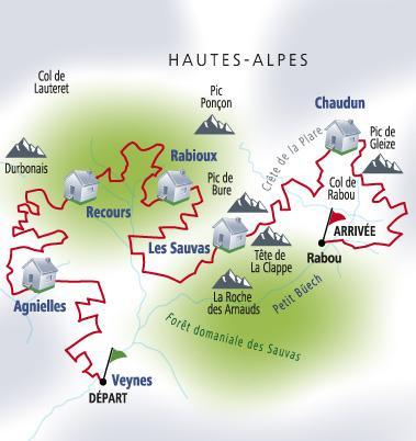 Carte rando retrouvance Hautes Alpes
