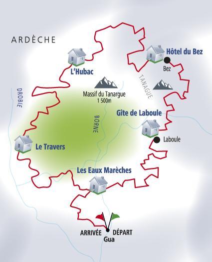 Carte itinéraire du Piémont Ardéchois